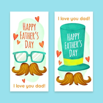 Watercolor fathers day banners template