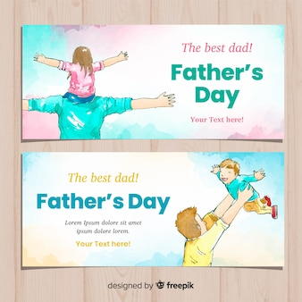 Watercolor fathers day banners