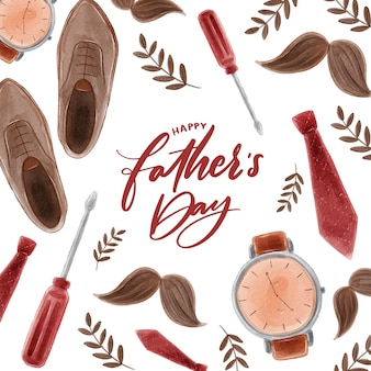 Watercolor fathers day theme