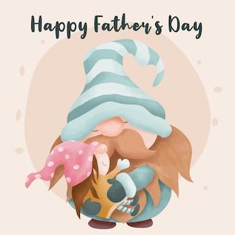 Акварельный день отца с папой и дочерью гномами
