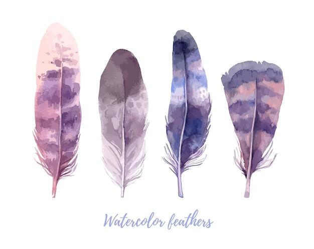Коллекция акварельных перьев. бохо птичье перо