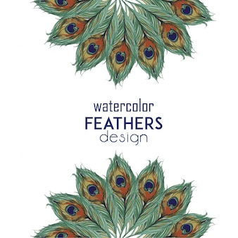 Watercolor feathers design