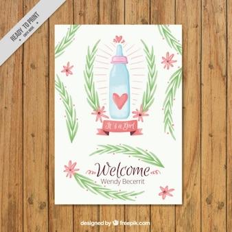 잎 아기 카드와 함께 수채화 젖 병