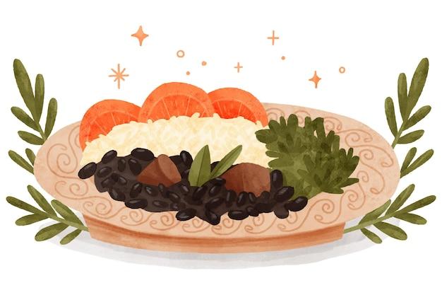 Illustrazione dell'acquerello di feijoada