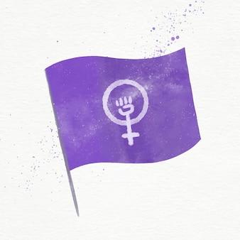 Акварельная иллюстрация феминистского флага с кулаком и женским символом