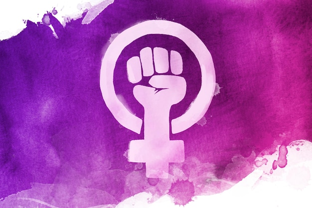 Watercolor feminist flag illustration with fist and female symbol