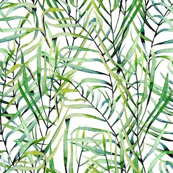 水彩のシダの葉のシームレスなパターン、手描き