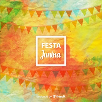 Watercolor festa junina background
