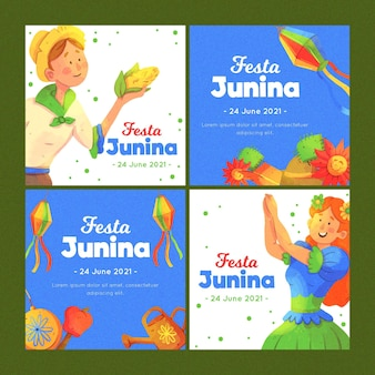 Watercolor festa junina card pack template