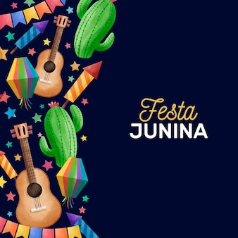 Watercolor festa junina concept