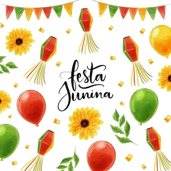 Watercolor festa junina concept Free Vector
