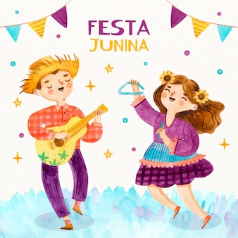 Watercolor festa junina concept