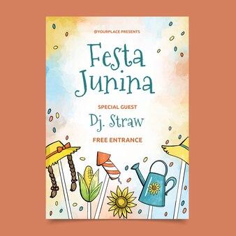 Watercolor festa junina poster template theme