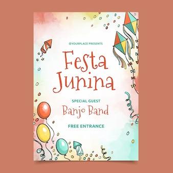 Watercolor festa junina poster template