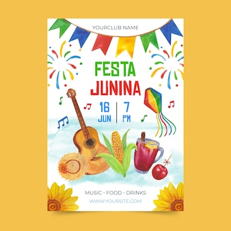 Watercolor festa junina poster template