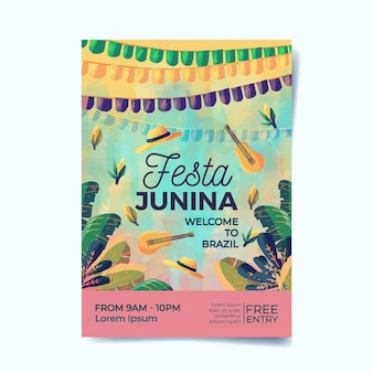 Watercolor festa junina poster Free Vector