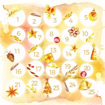 Watercolor festive advent calendar