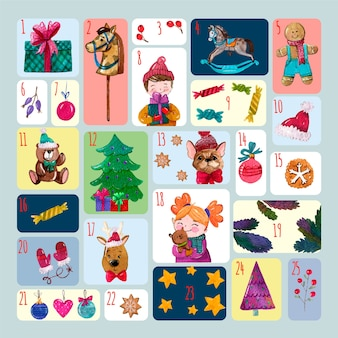 Акварель праздничный календарь пришествия