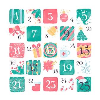 Calendario dell'avvento festivo dell'acquerello