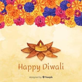 Watercolor festive diwali background