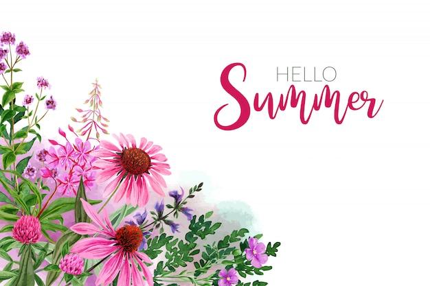 水彩野の花、明るいピンクの色合い、コーナー