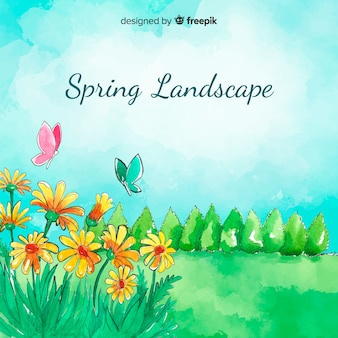 Watercolor field spring  background