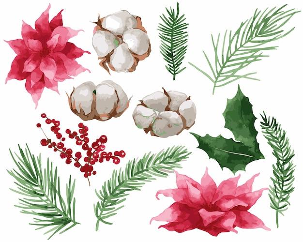 クリスマスの水彩モミの葉のイラスト