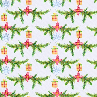 Watercolor fir tree branch pattern with gifts