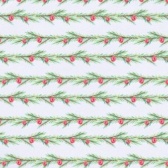 Watercolor fir tree branch pattern
