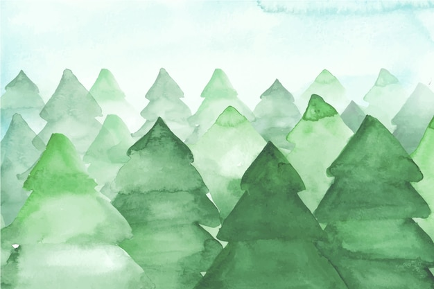 Watercolor fir trees background