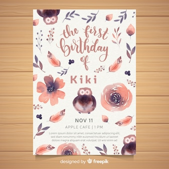 Watercolor first birthday party invitation card