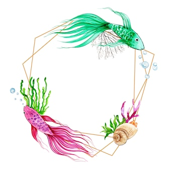Watercolor fish & underwater frame