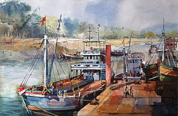 Watercolor fishing boats on the water in the sea with beautiful blue sky hand drawn illustration