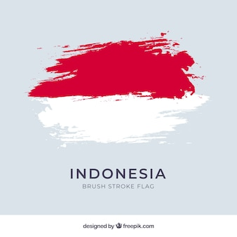 Watercolor flag of indonesia