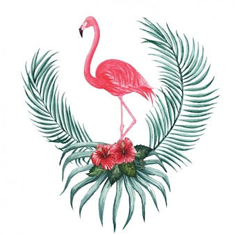 Watercolor flamingo decorative design
