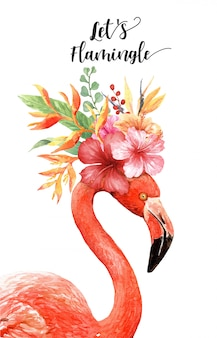 Watercolor flamingo with tropical bouquet on head.
