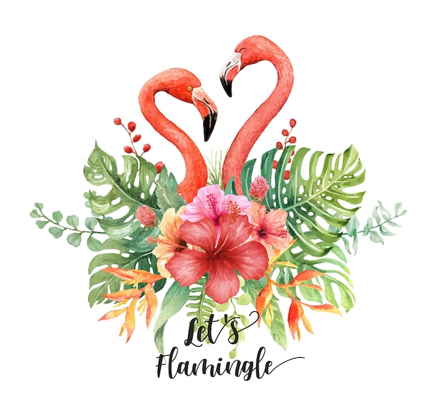 Watercolor flamingos heart in tropical bouquet