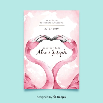 Watercolor flamingos wedding invitation template