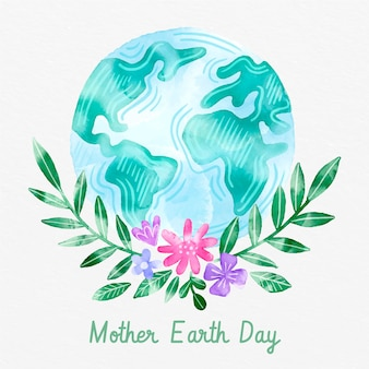 Watercolor flat mother earth day illustration