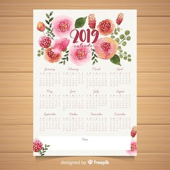 Watercolor floral 2019 calendar template