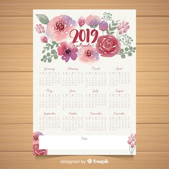 Watercolor floral 2019 calendar template
