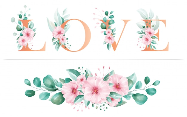 Watercolor floral alphabet of love letter and flowers arrangements for wedding invitation card composition