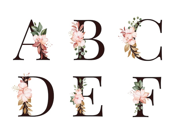 Акварель цветочные алфавит набор a, b, c, d, e, f с красными и коричневыми цветами и листьями. композиция цветов для логотипа, открыток, брендинга и т. д.