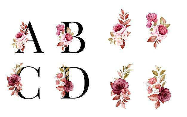 赤と茶色の花と葉を持つa、b、c、dの水彩花アルファベットセット。花の構成