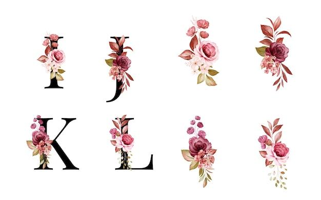 赤と茶色の花と葉を持つi、j、k、lの水彩花アルファベットセット。花の構成