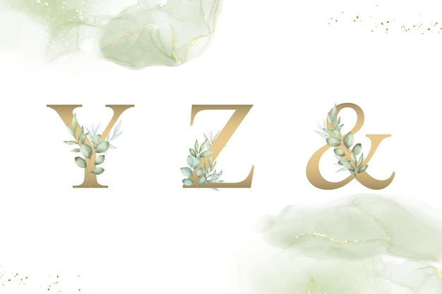 Yzと手描きの葉の水彩花アルファベットセット