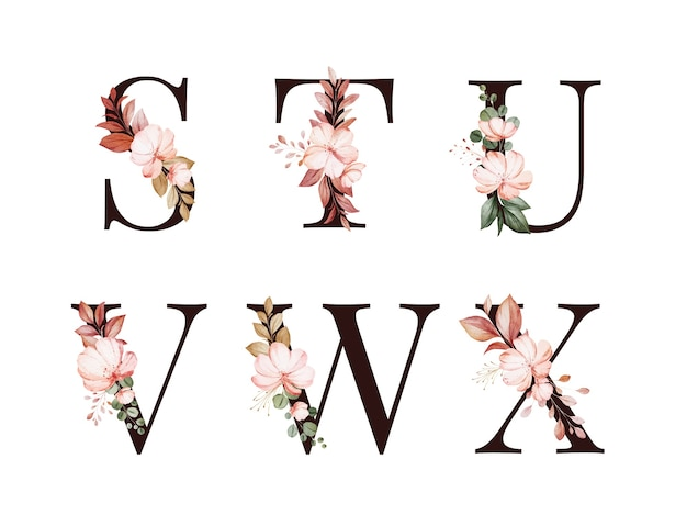 Watercolor floral alphabet set of s; t; u; v; w; x with red and brown flowers and leaves.