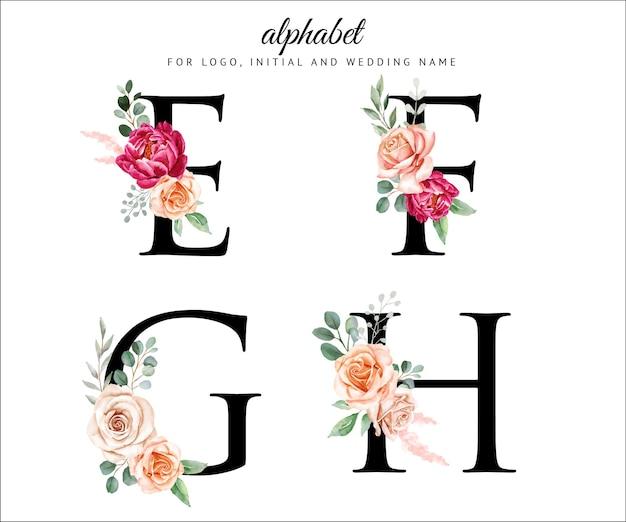 花と葉をセットした水彩花のアルファベット