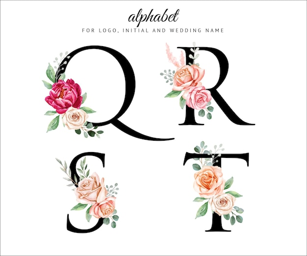 Watercolor floral alphabet set with flowers and leaves