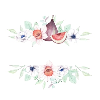 Акварель цветочная и инжирная рамка